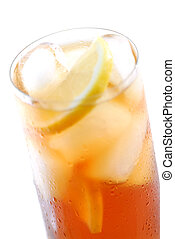 Iced tea - Glass of cold iced tea with water drops on...
