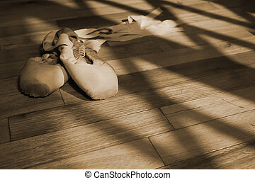 Pointe Shoes #2 - Pair of Ballet shoes lying on a wooden...