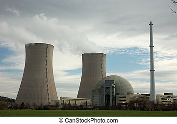 nuclear power plant - an atomic power plant with two cooling...
