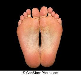 pés, isolado, pretas, fundo