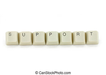 concept of support - letter keys close up, concept of...