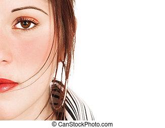 bonito, maquiagem, mulher, saturado, rosto
