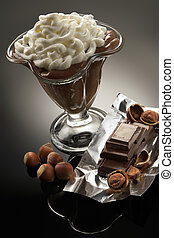 Coffee dessert with whipped cream on a background of...