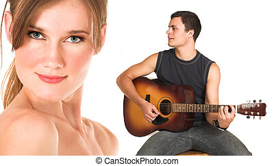 Face of a beautiful nude woman with man playing guitar -...