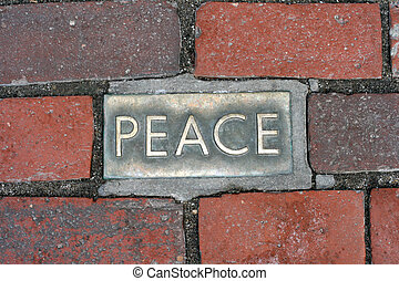 Peace - Boston walkway embedded with a bronze peace brick