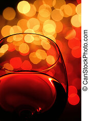 wineglass - close-up of wineglass with abstract lights...
