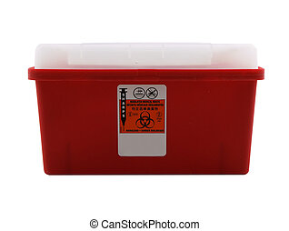 Sharps Container - Photo of a sharps container isolated on...