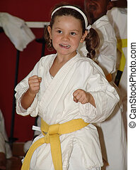 karate girl - Small karate girl training in the dojo No...
