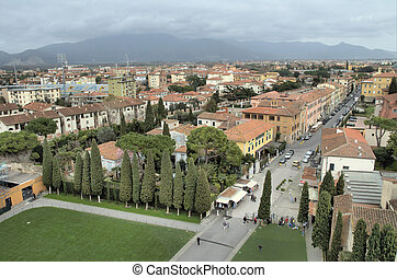 View onto Pisa - View from the leaning Tower in Pisa