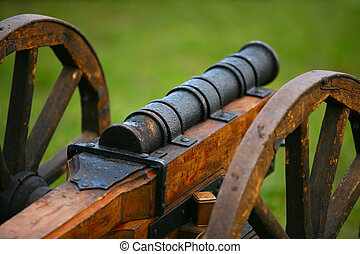 Medieval gun - The horizontal image of a medieval gun on a...