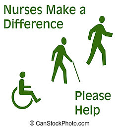 nurses needed sign green on white symbols illustrated