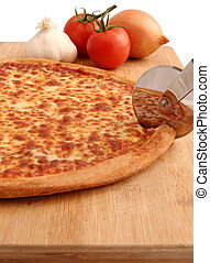 Pizza - A pepperoni pizza being cut on board - isolated with...