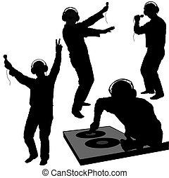 DJ silhouettes 3 - DJs 03 - Deejay silhouettes - Hight...