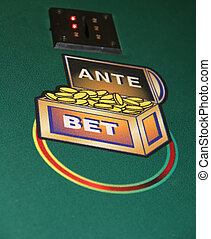 Ante - Betting circle on a caribbean stud poker table
