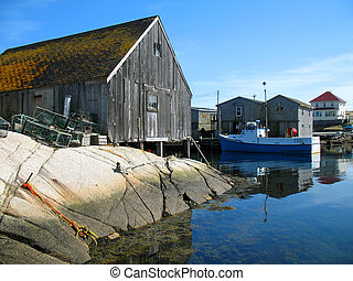 Fishing Shacks - Weathered fishing shacks on the granite...