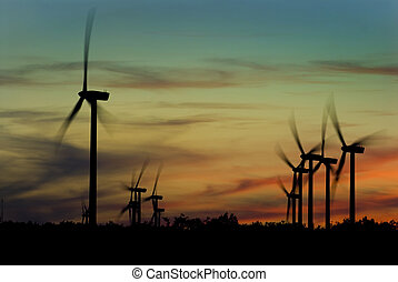 Wind turbines - Image of wind turbines on a wind farm at...
