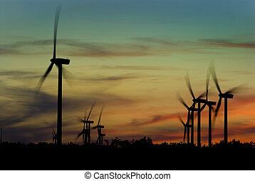 Wind turbines - Image of wind turbines on a wind farm at...