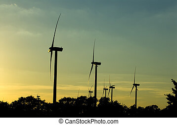 Wind turbines - Image of wind turbines at dusk
