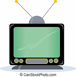 Television Set - An old fashioned TV set with antenna
