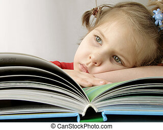 girl with book 7 - small pretty girl with book