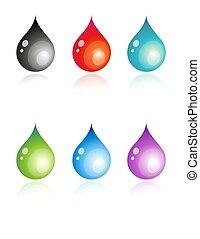Multicolour drops - 6 vector illustration of coloful drops