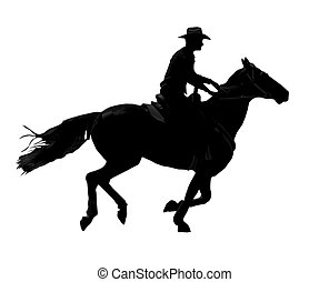 Cowboy Cantering - A silhouette of a cowboy riding his horse...