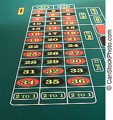 Roulette Table - View of the numbers on a roulette table