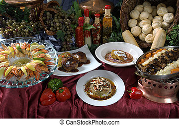 Gourmet food - Image of a table covered with gourmet food...