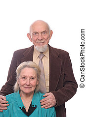 Senior couple, man embracing shoulders of his wife, isolated...