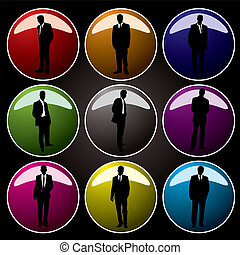 office buttons coloured - A collection of nine coloured...