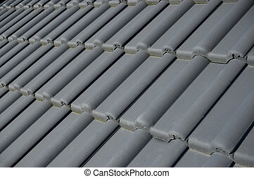 roof tiles - detail shot of grey rooftiles