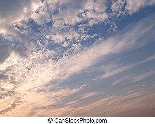 sky with clouds - evening sky with fleecy clouds