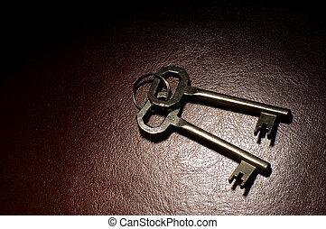 keys - two keys on brown leather spot light