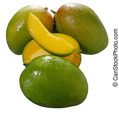 Mangoes - Fresh tropical green mango isolated on white...