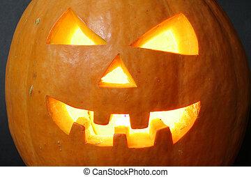 halloween pumpkin - face of halloween pumpkin on black...