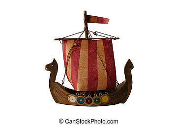 model of viking boat isolated on white background