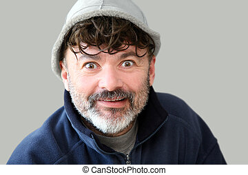 Funny man - Mature man in a hat with funny expression