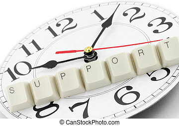 around the clock support - letter keys close up, concept of...