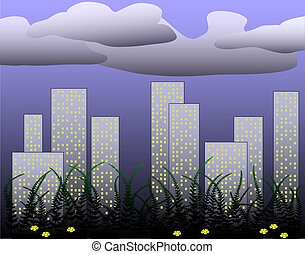 Fern city - Illustration of a city skyline with ferns in...