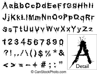 Grunge font - Illustrated font of grunge letters and numbers...