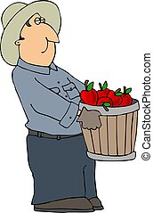 Apple Farmer - This illustration depicts a farmer carrying a...