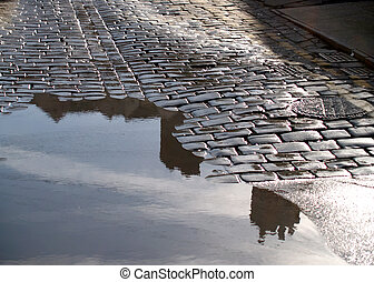 Street - Cobbled street with water pool