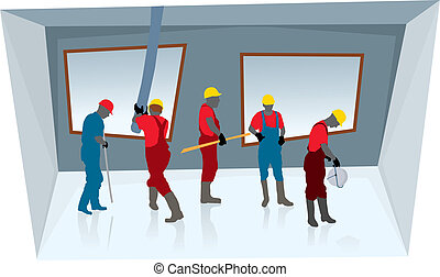 Team of construction workers building new concrete house