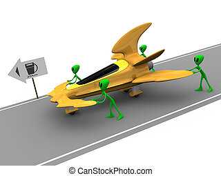 Aliens Need Gas - Humorous illustration of aliens pushing...