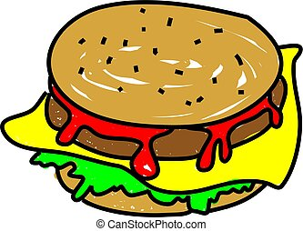 cheeseburger meal isolated on white drawn in toddler art...