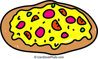 pizza - cheese pizza isolated on white drawn in toddler art...