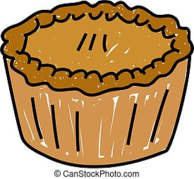 pie - baked pie isolated on white drawn in toddler art style