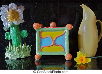 Childs Pottery - two pieces of a childs hand built pottery...