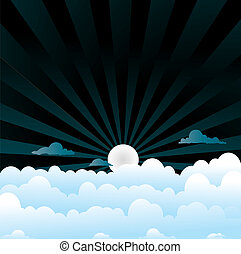 fluffy clouds night - A sky night scene with blue fluffy...