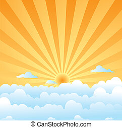 fluffy clouds sun - A day time illustration of the sky with...